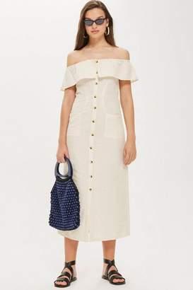 Topshop Tall Linen Midi Bardot Dress