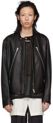 Maison Margiela Black Leather Classic Five-Zip Jacket