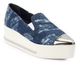Miu Miu Cap Toe Denim Platform Sneakers
