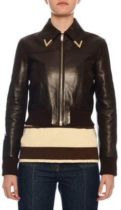 Valentino Hardware-Collar Zip-Front Shrunken Leather Bomber Jacket
