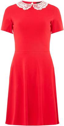 Dorothy Perkins Womens Red Lace Collar Mini Skater Dress
