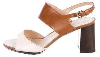 Tod's Leather Mid-Heel Sandals