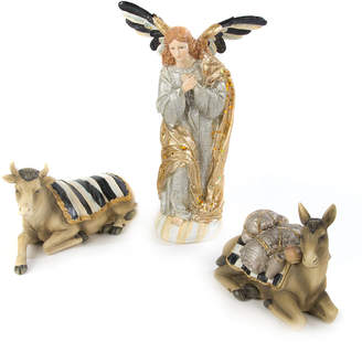 Mackenzie Childs Silver Lining Angel & Animal Nativity Figurines, Set of Three