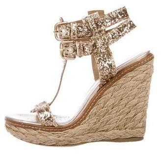 Stuart Weitzman Glitter Wedge Sandals