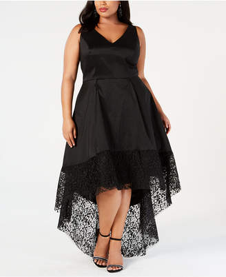 Betsy & Adam Plus Size Taffeta High-Low Gown