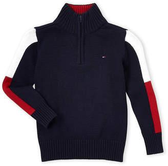Tommy Hilfiger Boys 4-7) Quarter-Zip Color Block Sweater