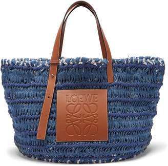 Loewe Leather-trimmed woven denim tote bag