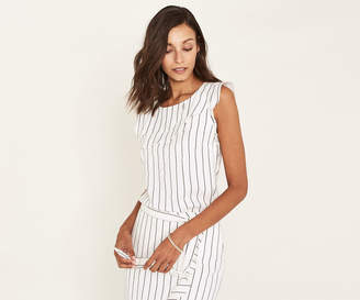Oasis PINSTRIPE FRILL SHELL TOP