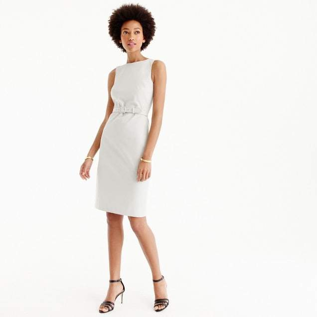 Belted sheath dress in two-way stretch cotton