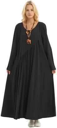 Anysize Sides Seam Pockets Linen&Cotton 4-Season Plus Size Clothing Y66