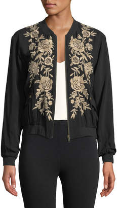 Johnny Was Lennon Floral-Embroidered Bomber Jacket