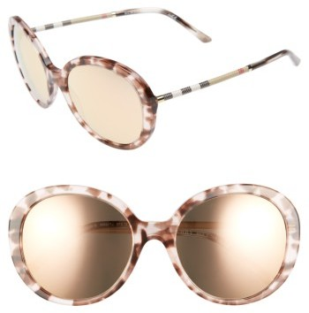 Women's Burberry 57Mm Check Temple Mirrored Round Frame Sunglasses - Dark Tortoise