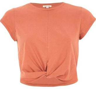 River Island Womens Coral twist front crop top