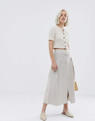 Asos Design DESIGN seamed linen midi skirt with metal buttons