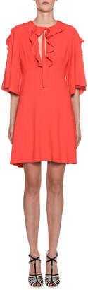 Giambattista Valli Crepe Flutter-Sleeve Ruffled Neck Dress