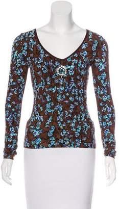 Blumarine Floral Print Long Sleeve Top