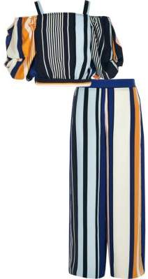 River Island Girls blue stripe crop and pant set