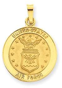 Black Bow Jewelry Company 14k Yellow Gold U.S. Air force Insignia Disk Pendant