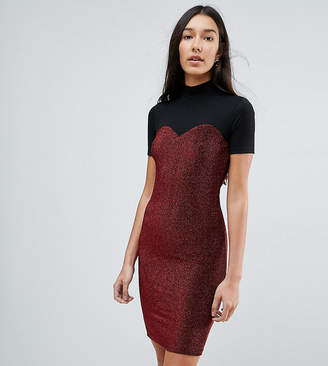 Noisy May Tall high neck mesh top glitter bodycon mini dress in black
