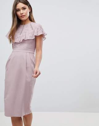 Asos Lace Insert Pencil Midi Dress