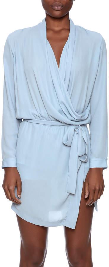 Olivaceous Vapor Wrap Dress