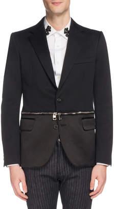 Alexander McQueen Men's Two-Button Jacket with Zip-Off Hem