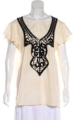 Marni Embellished Short Sleeve Top