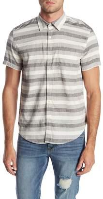 Lucky Brand Laguna Short Sleeve Stripe Slim Fit Woven Shirt