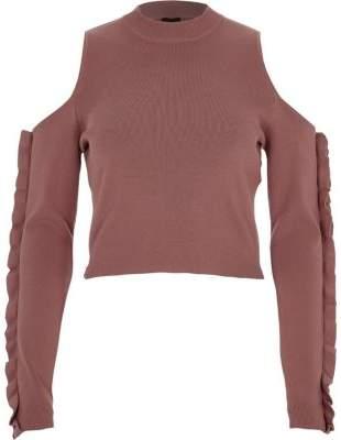 River Island Womens Dark pink cold shoulder ruffle sleeve top