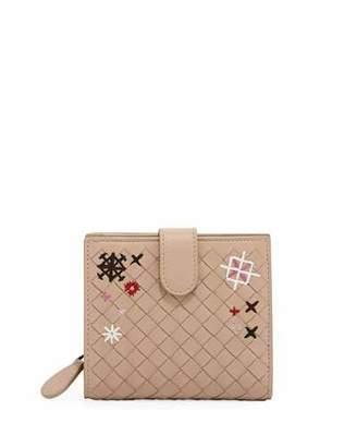 Bottega Veneta Embroidered Small French Woven Bi-Fold Wallet