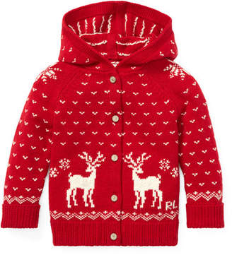 Ralph Lauren Knit Reindeer Hooded Sweater, Size 6-24 Months