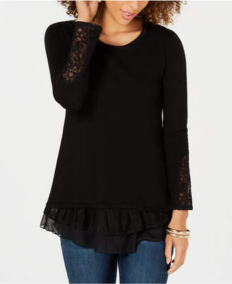 Style&Co. Style & Co Lace-Trim Sweater