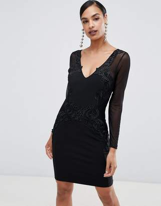 Lipsy long sleeve lace trim bodycon dress
