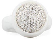 Roberto Demeglio Dama Medium White Ceramic Stretch Ring with Diamonds