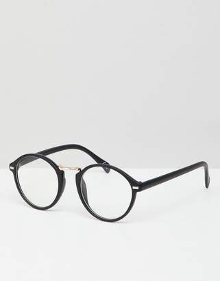 clear Asos Design Round Glasses In Black With Lens