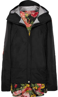 Junya Watanabe Hooded Layered Shell And Floral-print Georgette Jacket - Black