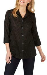 Foxcroft Pandora Palm Jacquard Tunic Shirt