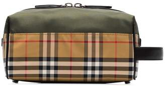Burberry Vintage check and khaki nylon washbag