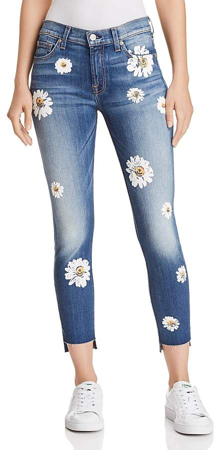 Ankle Skinny Jeans in Distressed Authentic Light with Daisies
