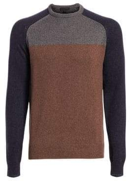Saks Fifth Avenue COLLECTION Color Block Wool Crewneck Sweater