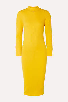 Courreges Ribbed Stretch-cotton Dress - Yellow