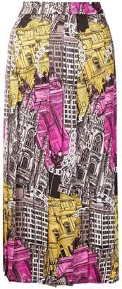MSGM monument print midi skirt