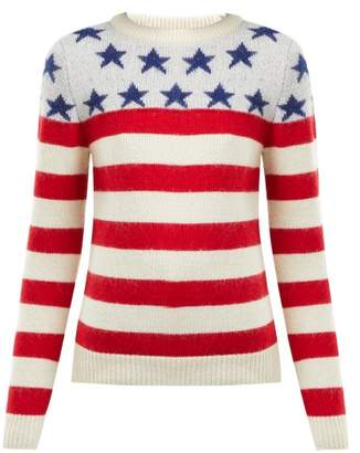 Saint Laurent American Flag Intarsia Wool Blend Sweater - Womens - Red Multi