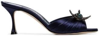 Manolo Blahnik blue Igura 70 crystal embellished silk satin mules