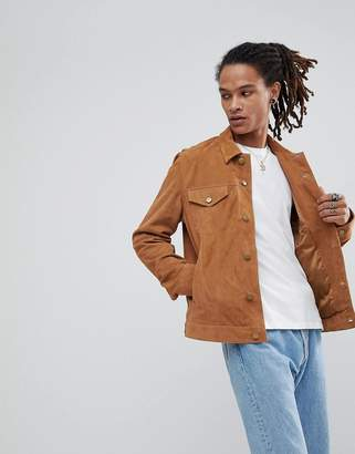 Asos Suede Trucker Jacket In Tan