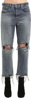 Diesel Mid Rise Destroyed Straight Leg Jeans