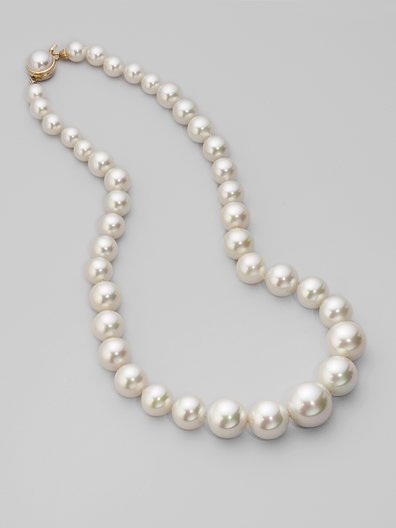 Majorica 10MM-16MM White Pearl Necklace/18