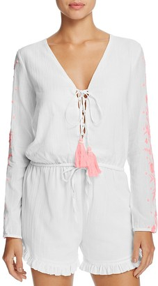Pampelone Ponnant Embroidered Romper Swim Cover-Up $170 thestylecure.com