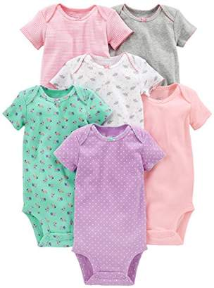 Carter's Simple Joys by Baby Girls' 6-Pack Short-Sleeve Bodysuit