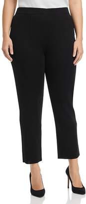 Misook Plus Darted-Waist Slim-Leg Pants